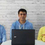 Ведущие одного из видеоблоков праздничной программы – камышловские кавээнщики Никита Щапов, Михаил Скакунов и Сергей Павленко.
