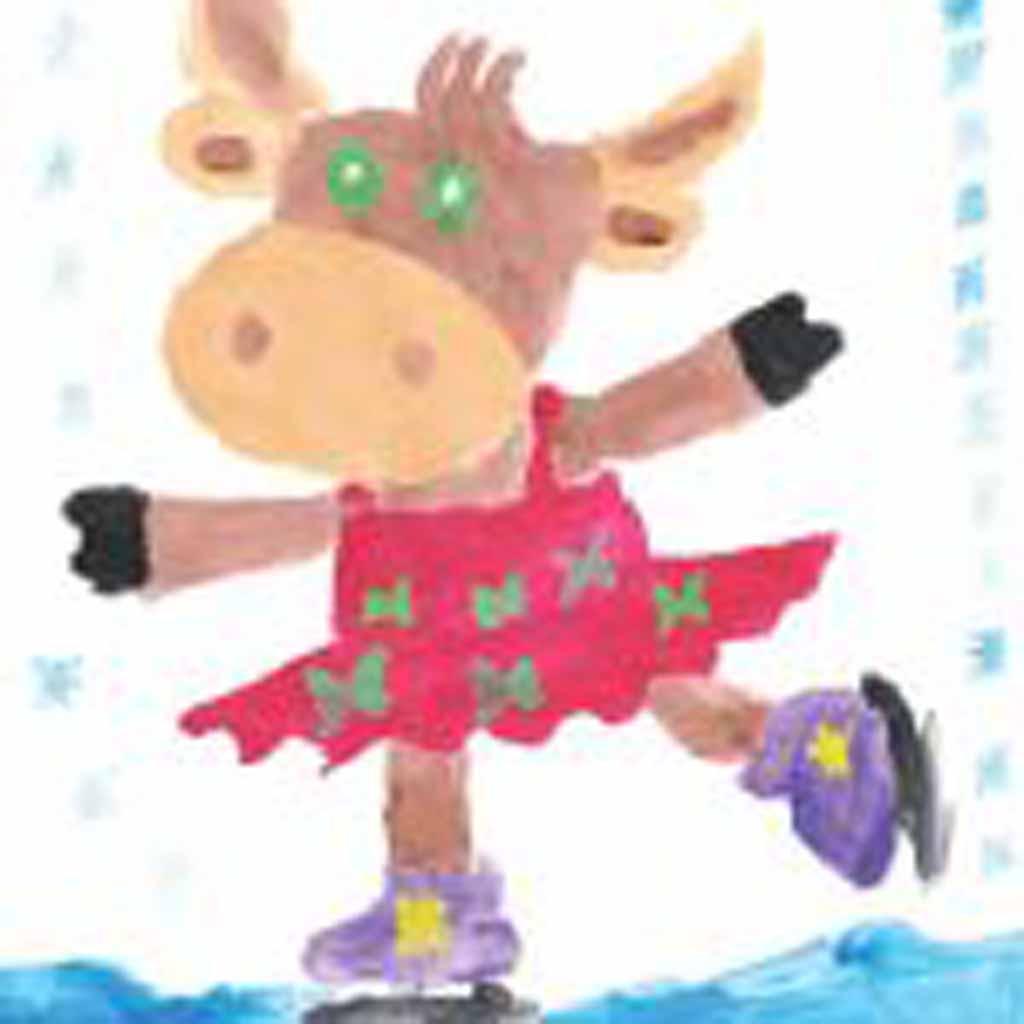 Рисунок Анастасии Голендухиной, 6 лет. «Бурёнка Даша любит спорт».