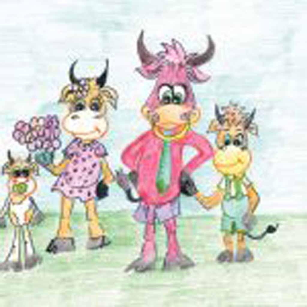 Рисунок Ксении Пульниковой, 35 лет. «Семья бычков».